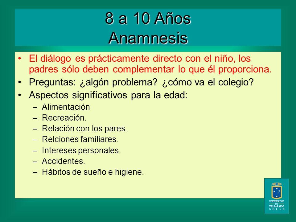 8 a 10 Años Anamnesis El diálogo es prácticamente directo con el niño, los padres sólo deben complementar lo que él proporciona.