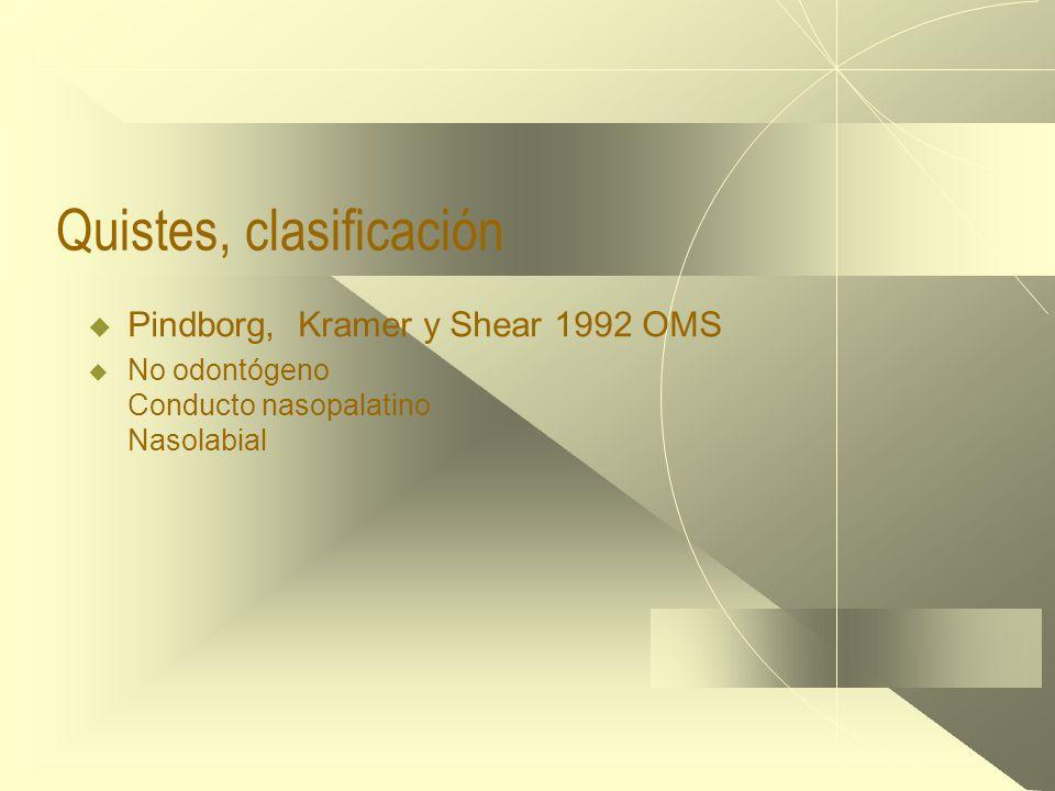 Quistes, clasificación  Pindborg, Kramer y Shear 1992 OMS  No odontógeno Conducto nasopalatino Nasolabial