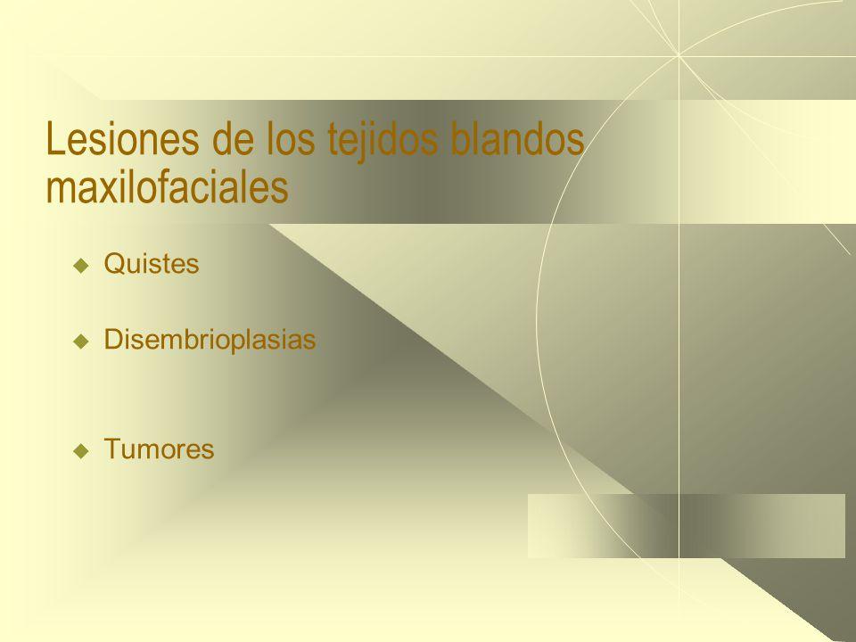 Lesiones de los tejidos blandos maxilofaciales  Quistes  Disembrioplasias  Tumores