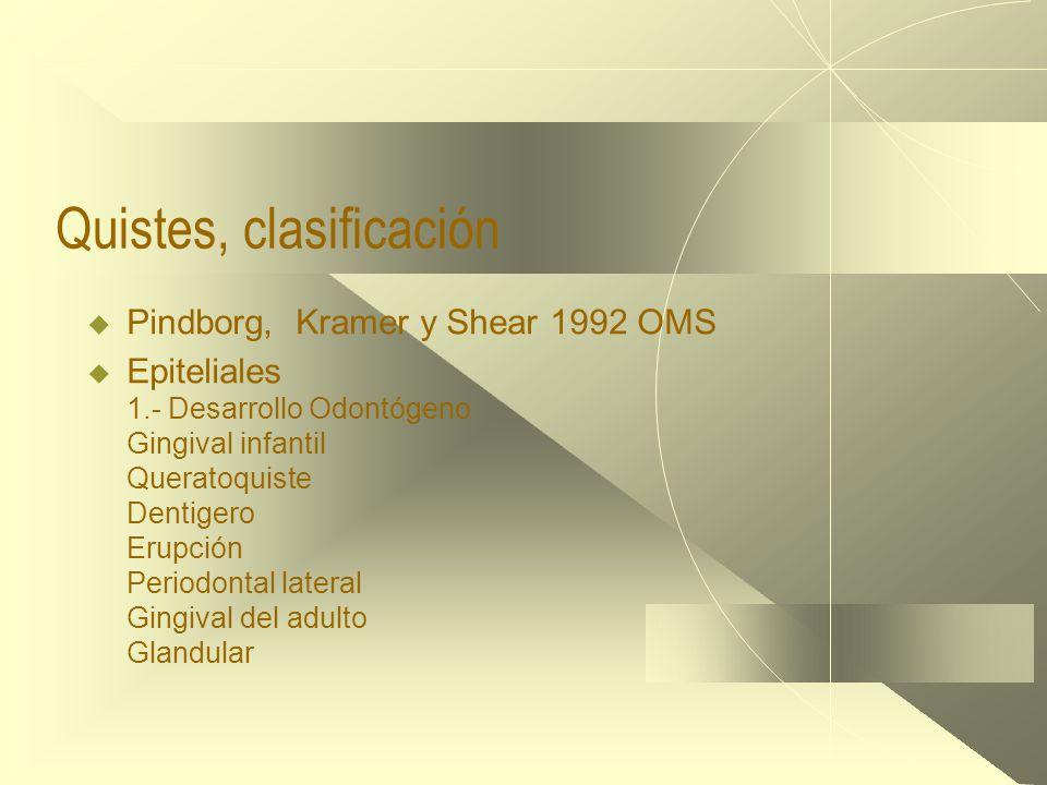 Quistes, clasificación  Pindborg, Kramer y Shear 1992 OMS  Epiteliales 1.- Desarrollo Odontógeno Gingival infantil Queratoquiste Dentigero Erupción Periodontal lateral Gingival del adulto Glandular