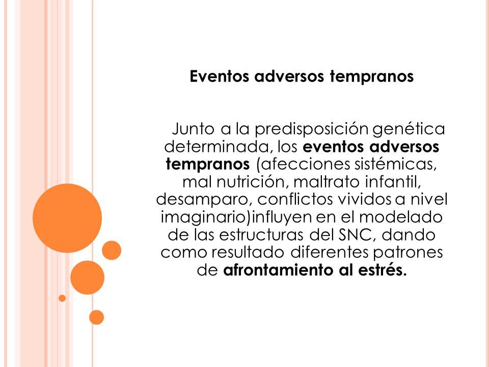 Eventos adversos tempranos Junto a la predisposición genética determinada, los eventos adversos tempranos (afecciones sistémicas, mal nutrición, maltr