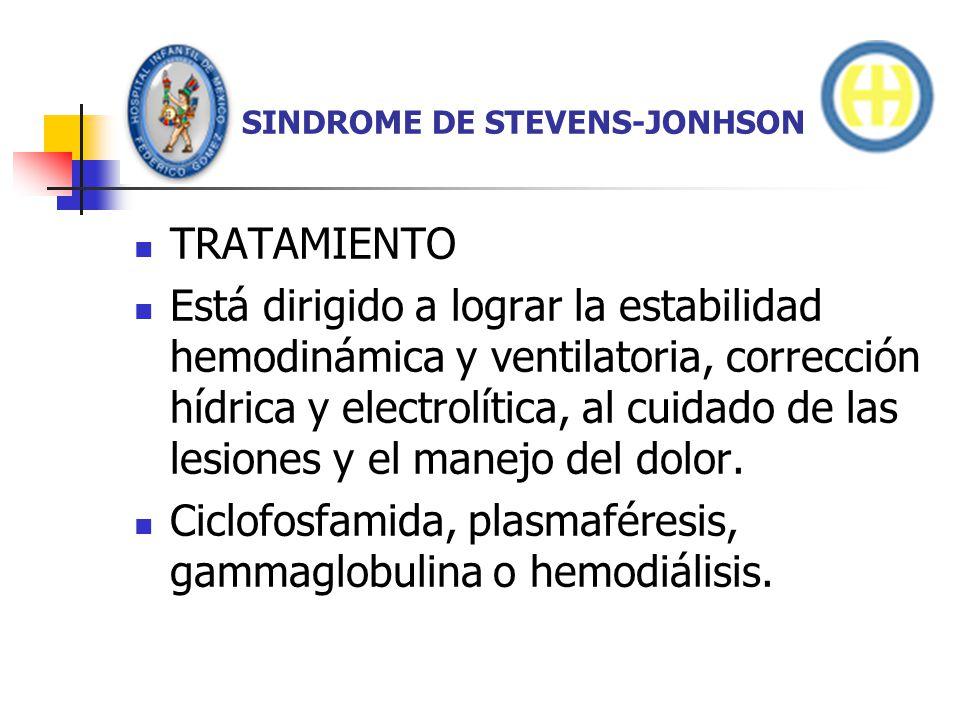 SINDROME DE STEVENS-JONHSON TRATAMIENTO Está dirigido a lograr la estabilidad hemodinámica y ventilatoria, corrección hídrica y electrolítica, al cuid