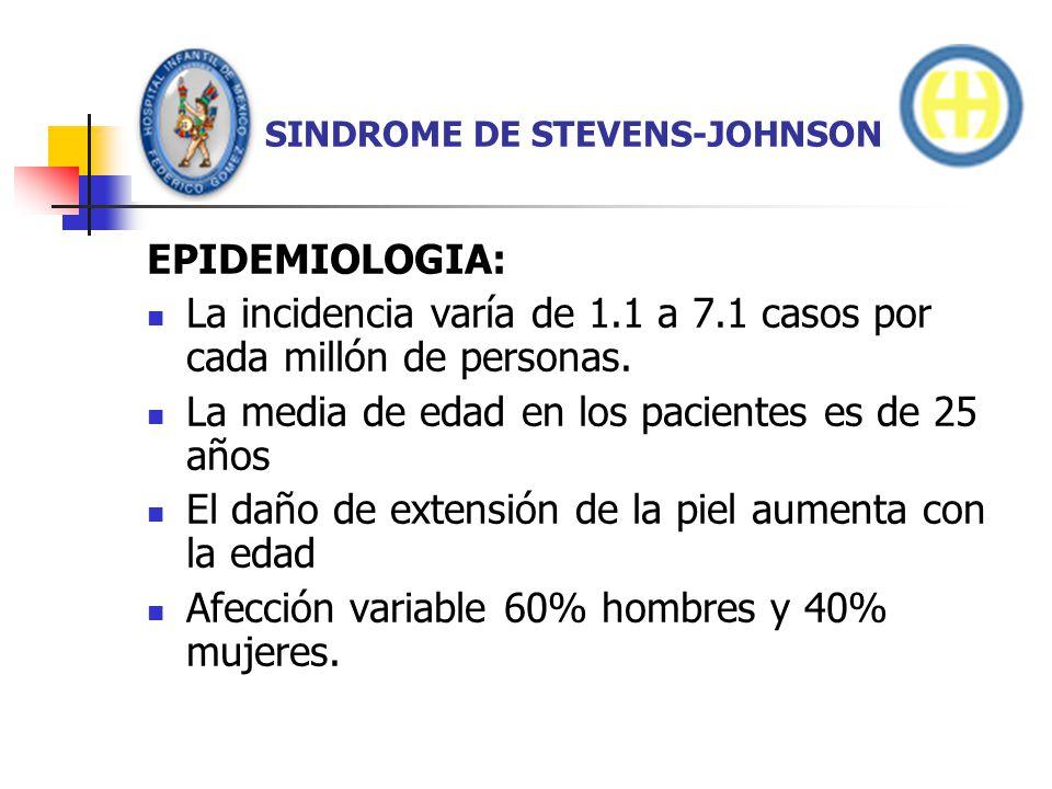 SINDROME DE STEVENS-JOHNSON EPIDEMIOLOGIA: La incidencia varía de 1.1 a 7.1 casos por cada millón de personas. La media de edad en los pacientes es de
