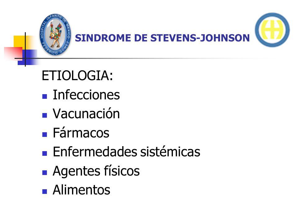 SINDROME DE STEVENS-JOHNSON ETIOLOGIA: FARMACOS.