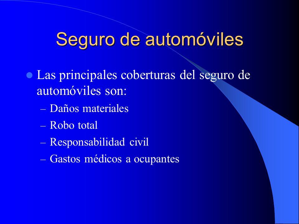 Seguros de daños a los bienes Los seguros de daños son la tercera operación básica de seguros, dentro de éstos, los productos más importantes son: – El seguro de automóviles – El seguro múltiple familiar
