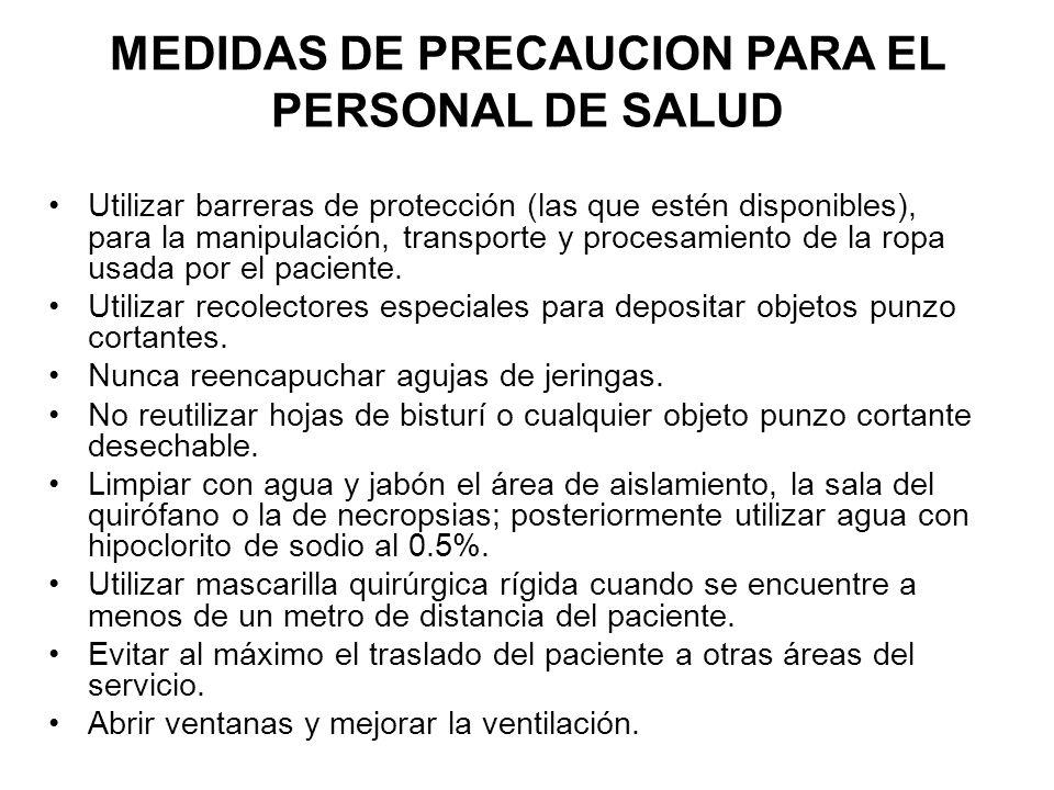 Utilizar barreras de protección (las que estén disponibles), para la manipulación, transporte y procesamiento de la ropa usada por el paciente.