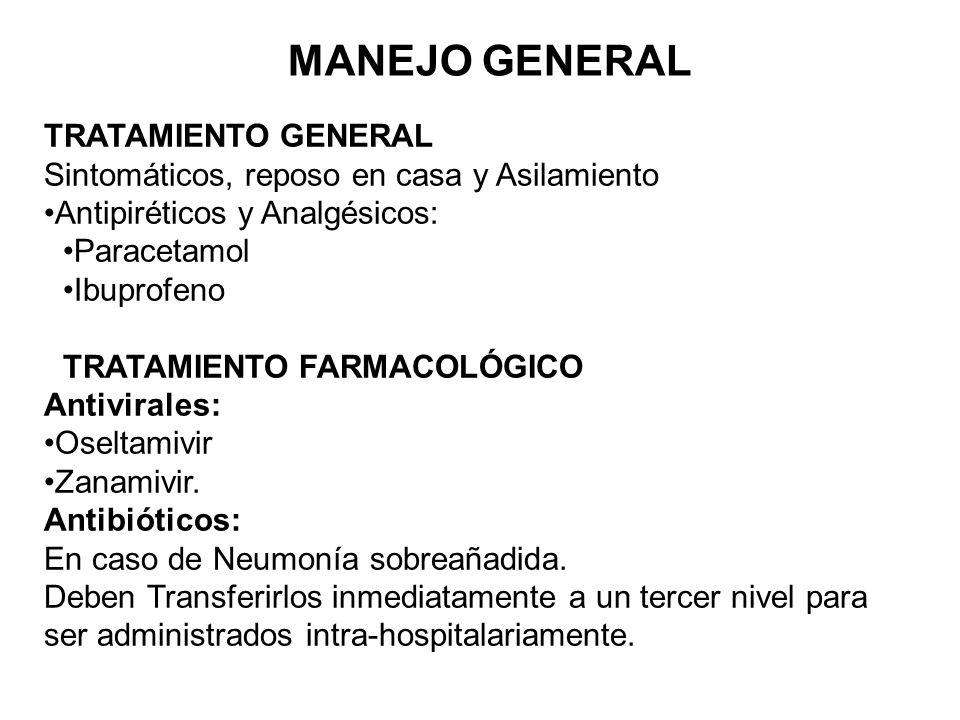 MANEJO GENERAL TRATAMIENTO GENERAL Sintomáticos, reposo en casa y Asilamiento Antipiréticos y Analgésicos: Paracetamol Ibuprofeno TRATAMIENTO FARMACOLÓGICO Antivirales: Oseltamivir Zanamivir.