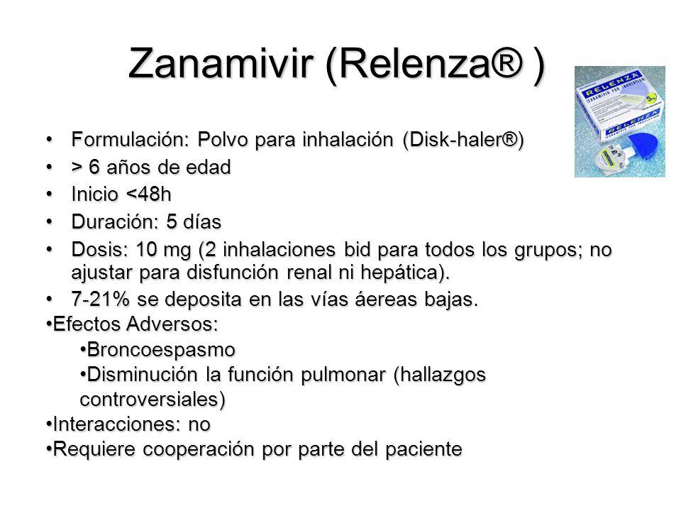 Zanamivir (Relenza® ) Formulación: Polvo para inhalación (Disk-haler®)Formulación: Polvo para inhalación (Disk-haler®) > 6 años de edad> 6 años de edad Inicio <48hInicio <48h Duración: 5 díasDuración: 5 días Dosis: 10 mg (2 inhalaciones bid para todos los grupos; no ajustar para disfunción renal ni hepática).Dosis: 10 mg (2 inhalaciones bid para todos los grupos; no ajustar para disfunción renal ni hepática).