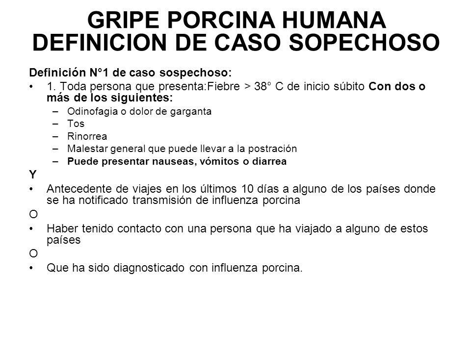 GRIPE PORCINA HUMANA DEFINICION DE CASO SOPECHOSO Definición N°1 de caso sospechoso: 1.