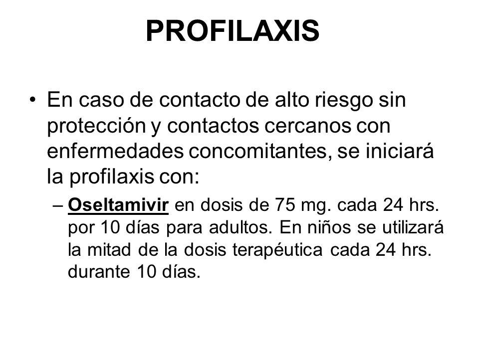 PROFILAXIS En caso de contacto de alto riesgo sin protección y contactos cercanos con enfermedades concomitantes, se iniciará la profilaxis con: –Oseltamivir en dosis de 75 mg.