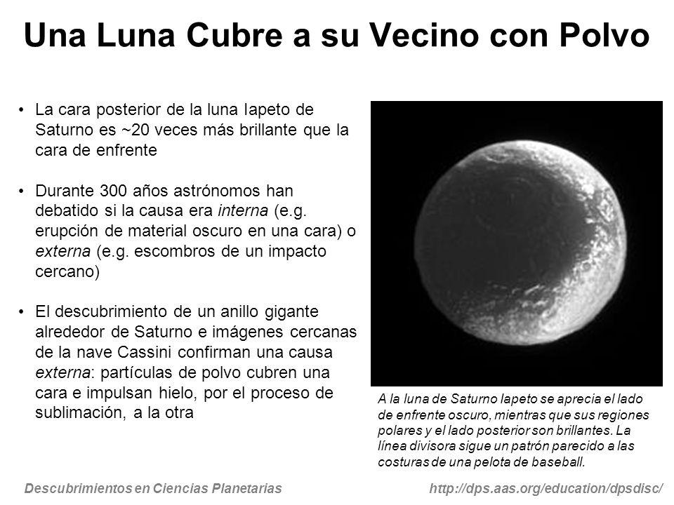 Descubrimientos en Ciencias Planetariashttp://dps.aas.org/education/dpsdisc/ Una Luna Cubre a su Vecino con Polvo La cara posterior de la luna Iapeto de Saturno es ~20 veces más brillante que la cara de enfrente Durante 300 años astrónomos han debatido si la causa era interna (e.g.