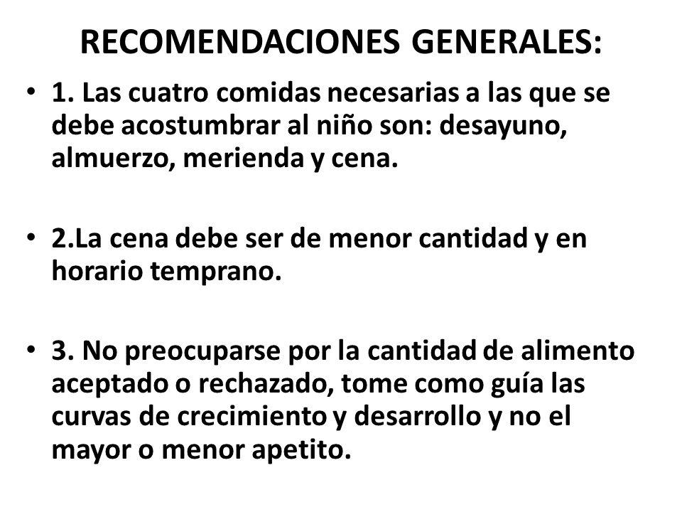 RECOMENDACIONES GENERALES: 1.