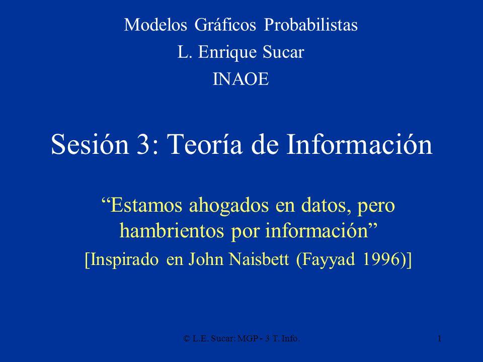© L.E. Sucar: MGP - 3 T. Info.1 Sesión 3: Teoría de Información Modelos Gráficos Probabilistas L.
