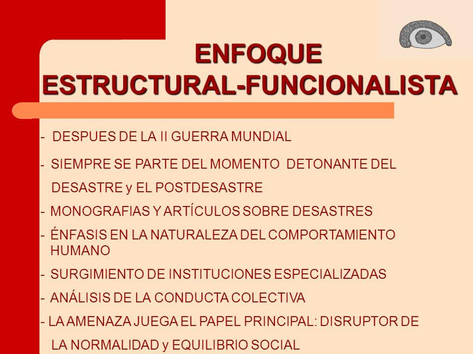 ENFOQUE ESTRUCTURAL-FUNCIONALISTA ESTRUCTURAL-FUNCIONALISTA -MONOGRAFIAS Y ARTÍCULOS SOBRE DESASTRES -ÉNFASIS EN LA NATURALEZA DEL COMPORTAMIENTO HUMANO -SURGIMIENTO DE INSTITUCIONES ESPECIALIZADAS -ANÁLISIS DE LA CONDUCTA COLECTIVA - DESPUES DE LA II GUERRA MUNDIAL - SIEMPRE SE PARTE DEL MOMENTO DETONANTE DEL DESASTRE y EL POSTDESASTRE - LA AMENAZA JUEGA EL PAPEL PRINCIPAL: DISRUPTOR DE LA NORMALIDAD y EQUILIBRIO SOCIAL