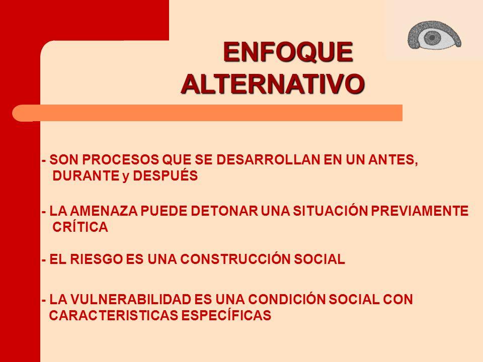 ENFOQUE ALTERNATIVO ALTERNATIVO - SON PROCESOS QUE SE DESARROLLAN EN UN ANTES, DURANTE y DESPUÉS - LA AMENAZA PUEDE DETONAR UNA SITUACIÓN PREVIAMENTE CRÍTICA - EL RIESGO ES UNA CONSTRUCCIÓN SOCIAL - LA VULNERABILIDAD ES UNA CONDICIÓN SOCIAL CON CARACTERISTICAS ESPECÍFICAS