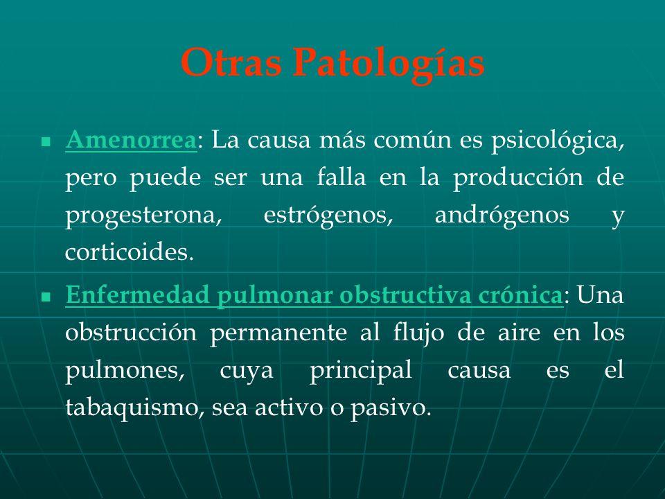 Amenorrea : La causa más común es psicológica, pero puede ser una falla en la producción de progesterona, estrógenos, andrógenos y corticoides.