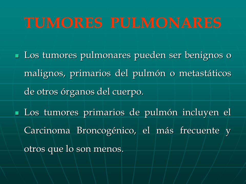 TUMORES PULMONARES Los tumores pulmonares pueden ser benignos o malignos, primarios del pulmón o metastáticos de otros órganos del cuerpo.