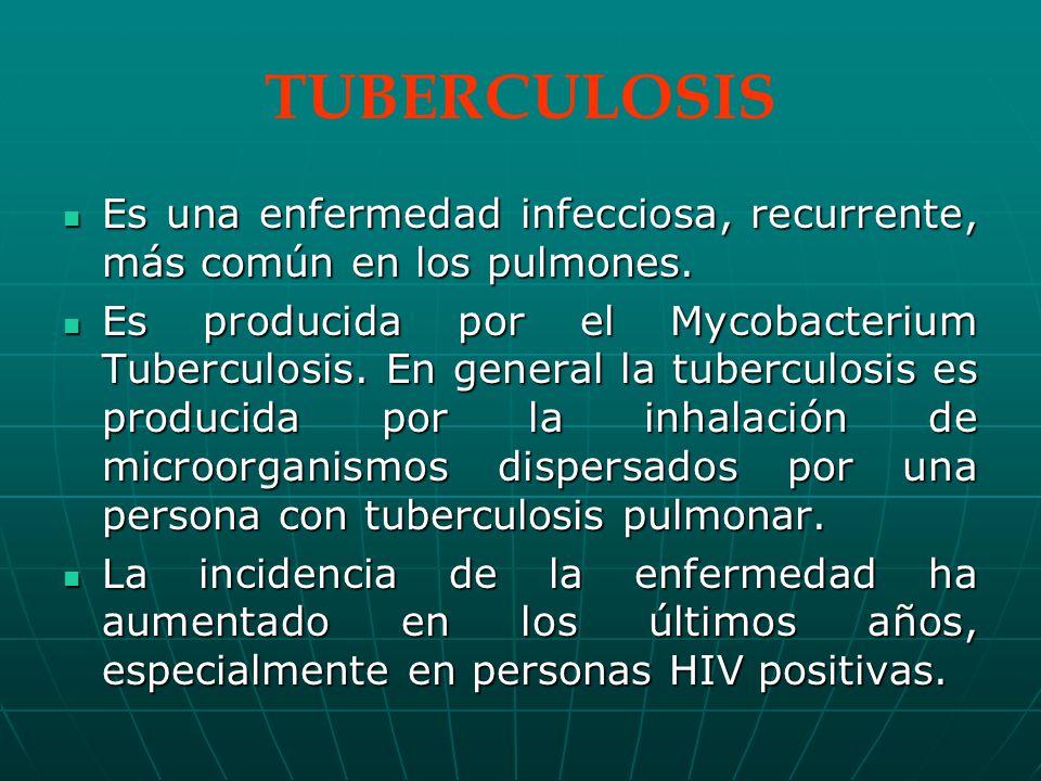 TUBERCULOSIS Es una enfermedad infecciosa, recurrente, más común en los pulmones.