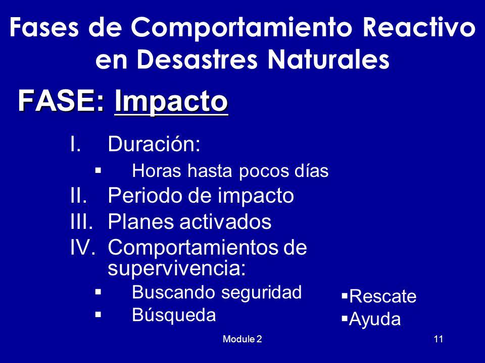 Module 211 FASE: Impacto I.Duración:  Horas hasta pocos días II.Periodo de impacto III.Planes activados IV.Comportamientos de supervivencia:  Buscando seguridad  Búsqueda Fases de Comportamiento Reactivo en Desastres Naturales  Rescate  Ayuda