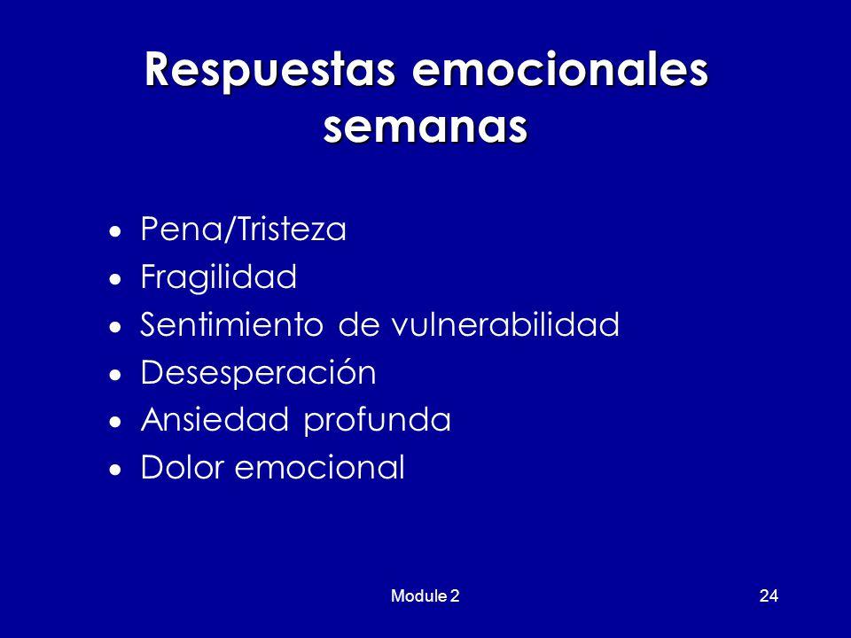 Module 224 Respuestas emocionales semanas  Pena/Tristeza  Fragilidad  Sentimiento de vulnerabilidad  Desesperación  Ansiedad profunda  Dolor emocional