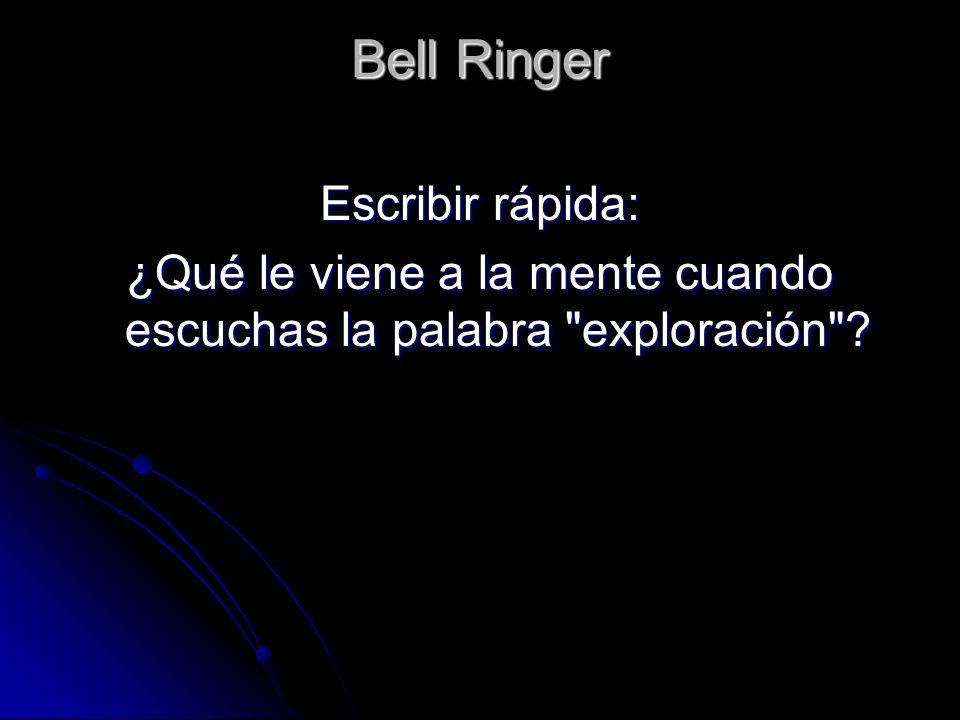 Bell Ringer Escribir rápida: ¿Qué le viene a la mente cuando escuchas la palabra exploración