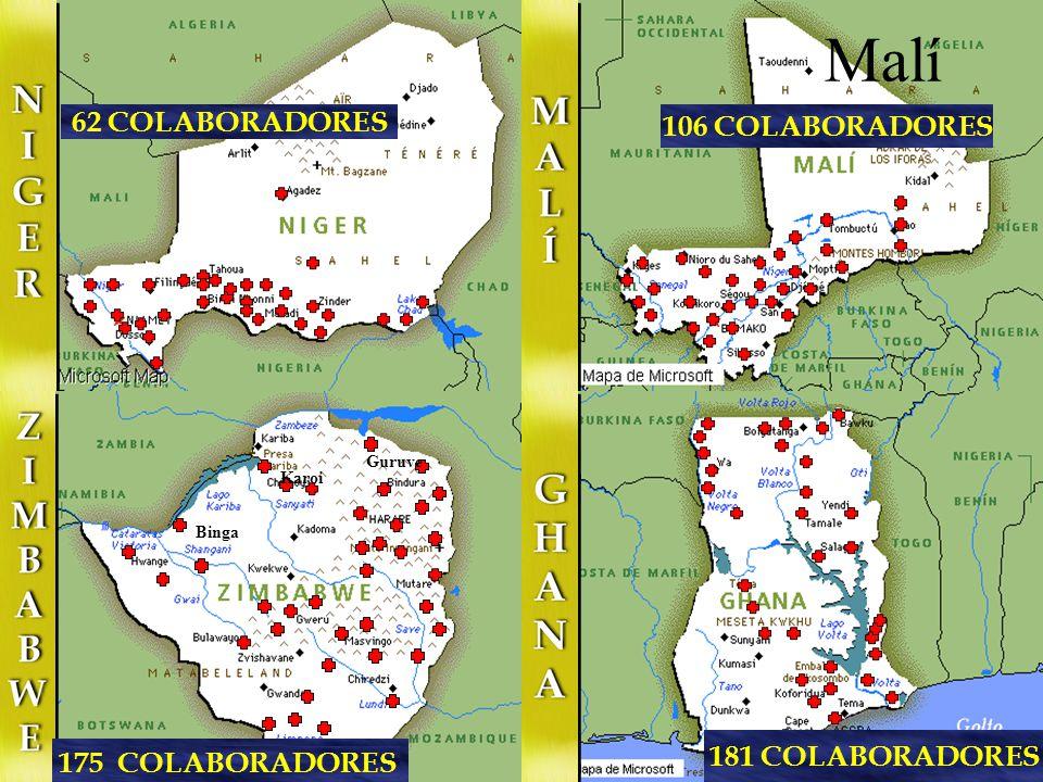 59 COLABORADORES 250 COLABORADORES Micomiseng Añisok Aconibe Mongo mo Nsoc-Nsumi Baney Riaba 147 COLABORADORES 183 COLABORADORES