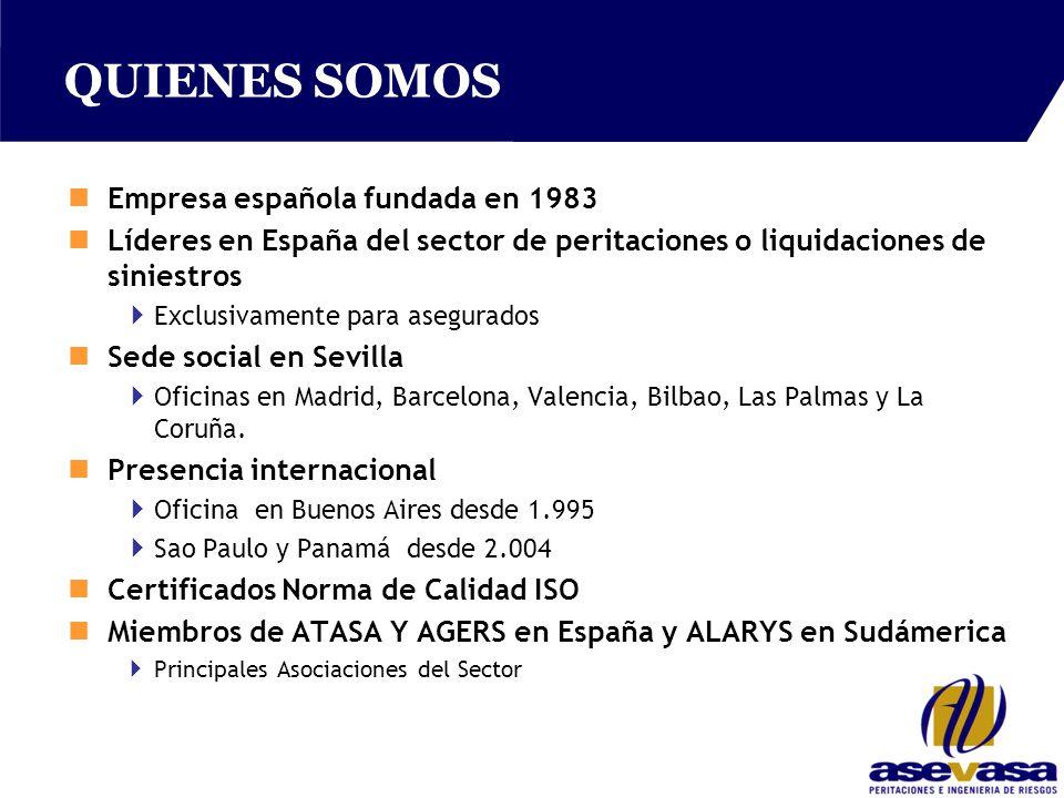 QUIENES SOMOS nEmpresa española fundada en 1983 nLíderes en España del sector de peritaciones o liquidaciones de siniestros  Exclusivamente para asegurados nSede social en Sevilla  Oficinas en Madrid, Barcelona, Valencia, Bilbao, Las Palmas y La Coruña.