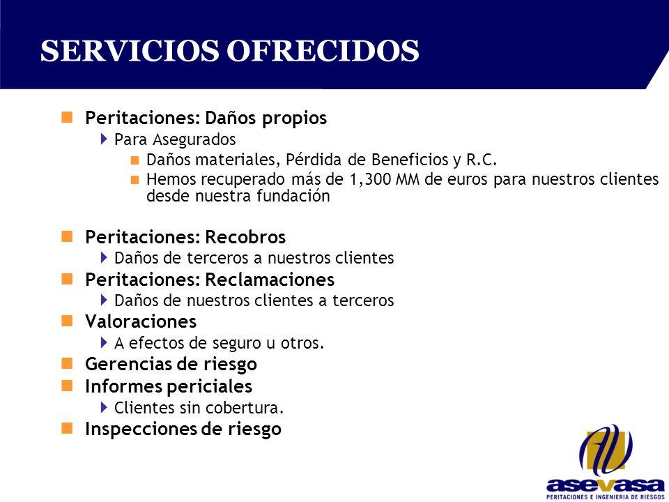 SERVICIOS OFRECIDOS nPeritaciones: Daños propios  Para Asegurados n Daños materiales, Pérdida de Beneficios y R.C.