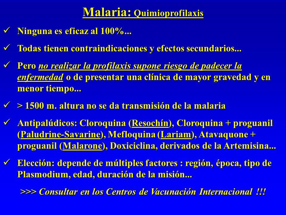 Malaria: Quimioprofilaxis Ninguna es eficaz al 100%...