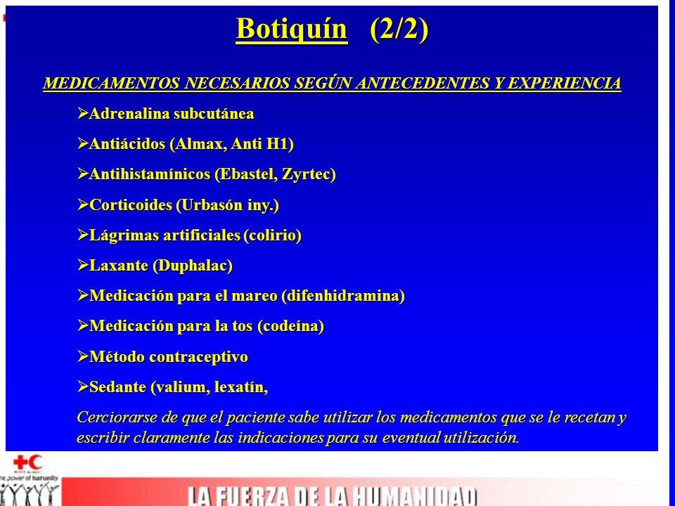 Botiquín (2/2) MEDICAMENTOS NECESARIOS SEGÚN ANTECEDENTES Y EXPERIENCIA  Adrenalina subcutánea  Antiácidos (Almax, Anti H1)  Antihistamínicos (Ebastel, Zyrtec)  Corticoides (Urbasón iny.)  Lágrimas artificiales (colirio)  Laxante (Duphalac)  Medicación para el mareo (difenhidramina)  Medicación para la tos (codeína)  Método contraceptivo  Sedante (valium, lexatín, Cerciorarse de que el paciente sabe utilizar los medicamentos que se le recetan y escribir claramente las indicaciones para su eventual utilización.