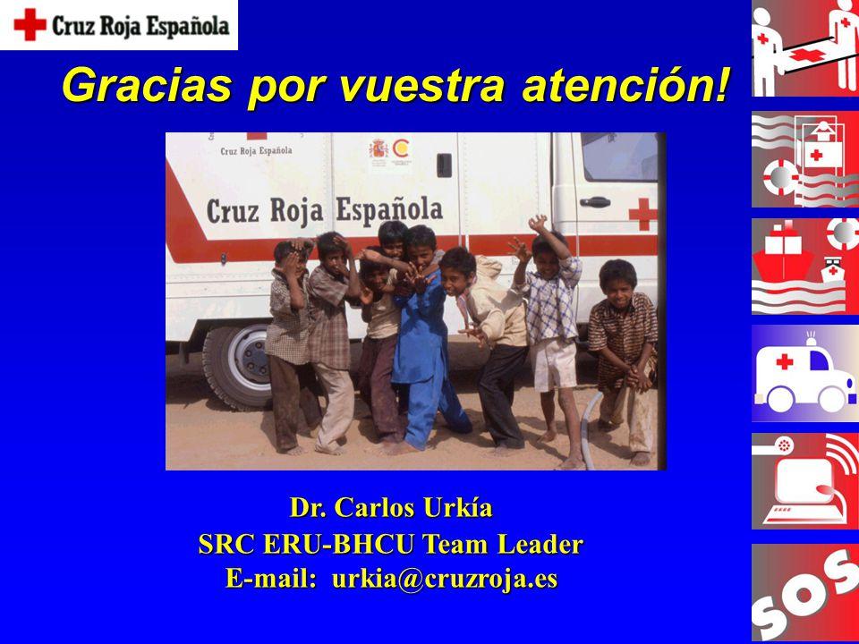 Gracias por vuestra atención! Dr. Carlos Urkía SRC ERU-BHCU Team Leader E-mail: urkia@cruzroja.es