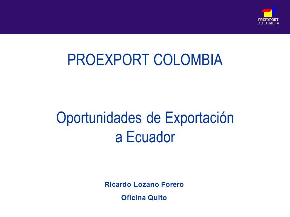 PROEXPORT C O L O M B I A PROEXPORT COLOMBIA Oportunidades de Exportación a Ecuador Ricardo Lozano Forero Oficina Quito
