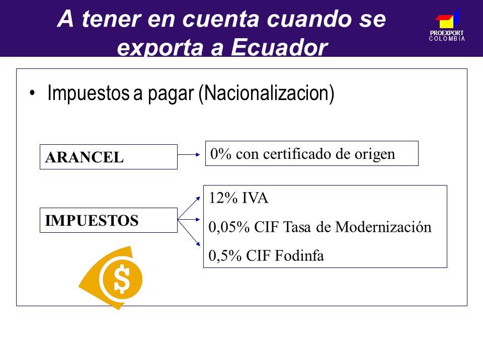 PROEXPORT C O L O M B I A A tener en cuenta cuando se exporta a Ecuador ARANCEL IMPUESTOS 0% con certificado de origen 12% IVA 0,05% CIF Tasa de Modernización 0,5% CIF Fodinfa Impuestos a pagar (Nacionalizacion)