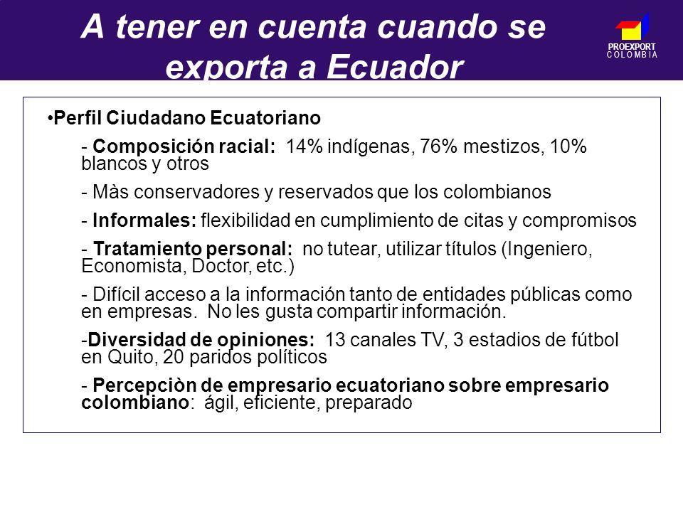 PROEXPORT C O L O M B I A A tener en cuenta cuando se exporta a Ecuador Perfil Ciudadano Ecuatoriano - Composición racial: 14% indígenas, 76% mestizos, 10% blancos y otros - Màs conservadores y reservados que los colombianos - Informales: flexibilidad en cumplimiento de citas y compromisos - Tratamiento personal: no tutear, utilizar títulos (Ingeniero, Economista, Doctor, etc.) - Difícil acceso a la información tanto de entidades públicas como en empresas.