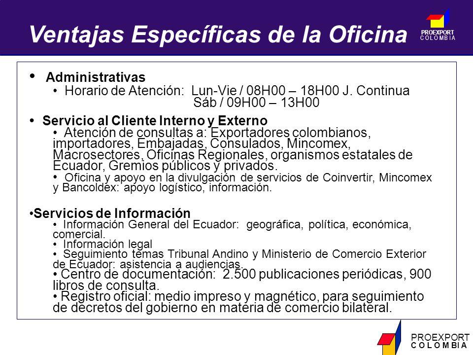 PROEXPORT C O L O M B I A PROEXPORT C O L O M BI A Administrativas Horario de Atención: Lun-Vie / 08H00 – 18H00 J.