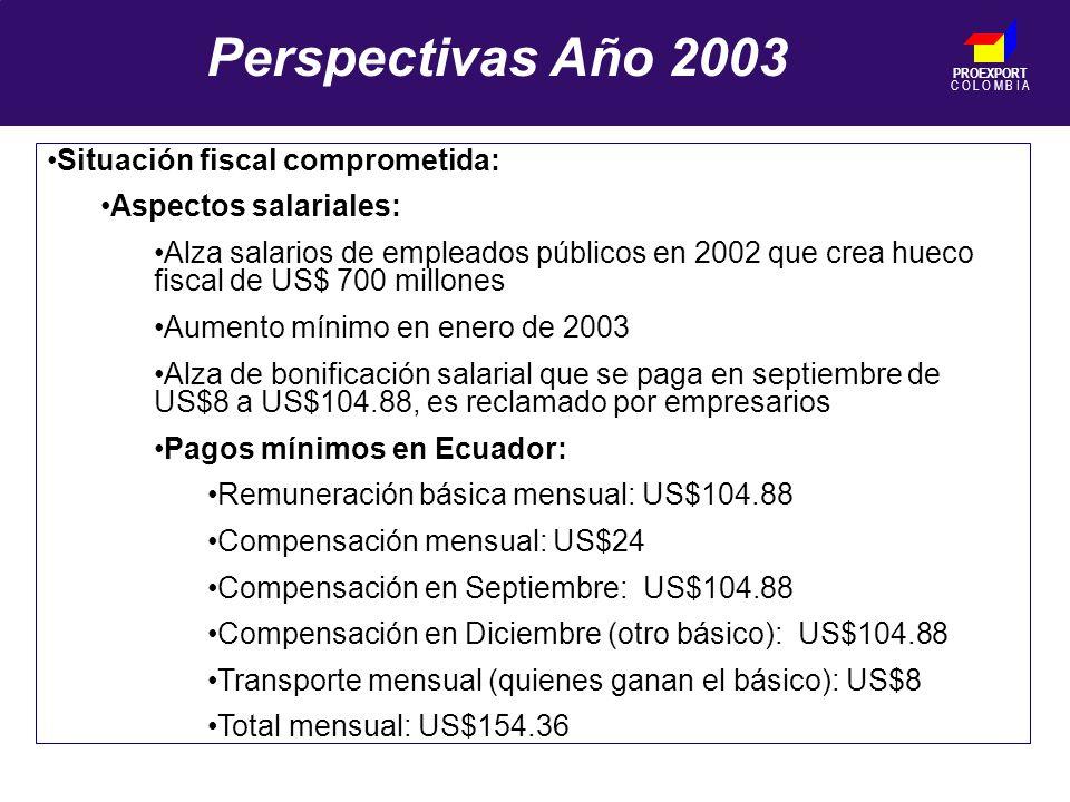 PROEXPORT C O L O M B I A Perspectivas Año 2003 Situación fiscal comprometida: Aspectos salariales: Alza salarios de empleados públicos en 2002 que crea hueco fiscal de US$ 700 millones Aumento mínimo en enero de 2003 Alza de bonificación salarial que se paga en septiembre de US$8 a US$104.88, es reclamado por empresarios Pagos mínimos en Ecuador: Remuneración básica mensual: US$104.88 Compensación mensual: US$24 Compensación en Septiembre: US$104.88 Compensación en Diciembre (otro básico): US$104.88 Transporte mensual (quienes ganan el básico): US$8 Total mensual: US$154.36