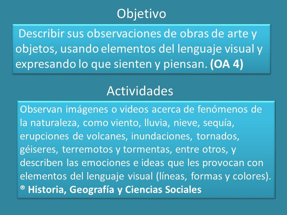 Objetivo Describir sus observaciones de obras de arte y objetos, usando elementos del lenguaje visual y expresando lo que sienten y piensan.