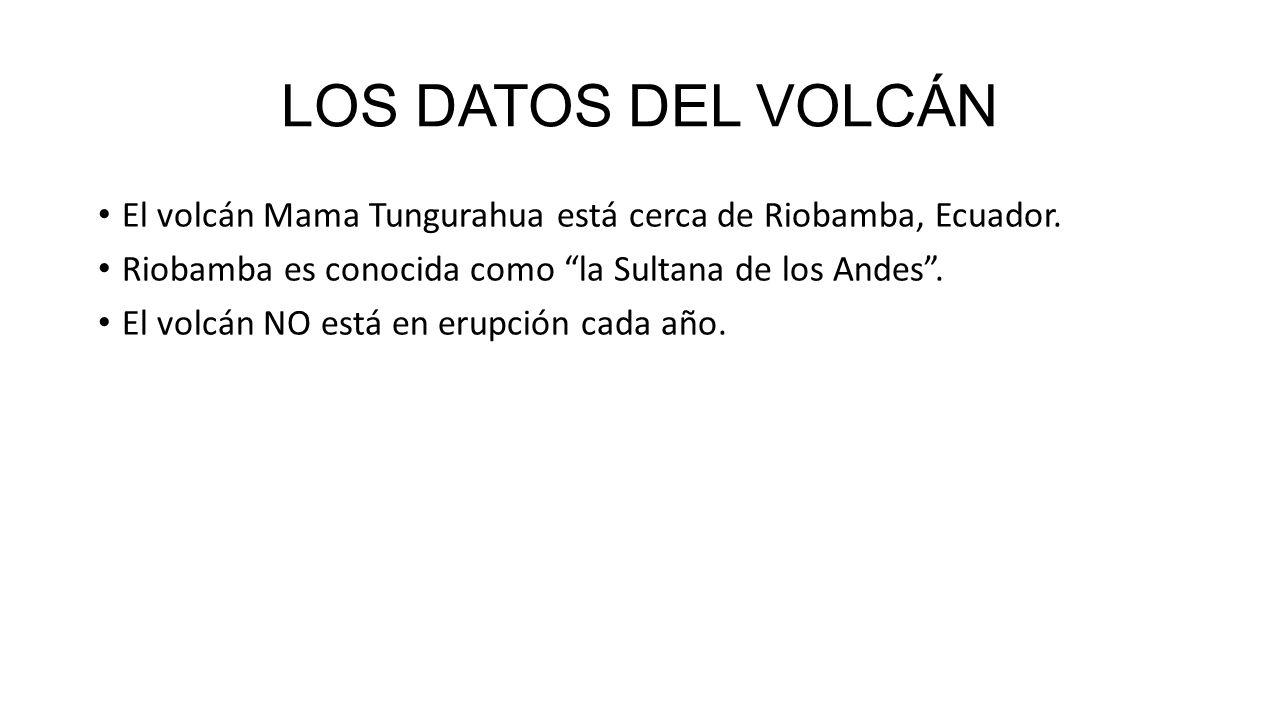 LOS DATOS DEL VOLCÁN El volcán Mama Tungurahua está cerca de Riobamba, Ecuador.
