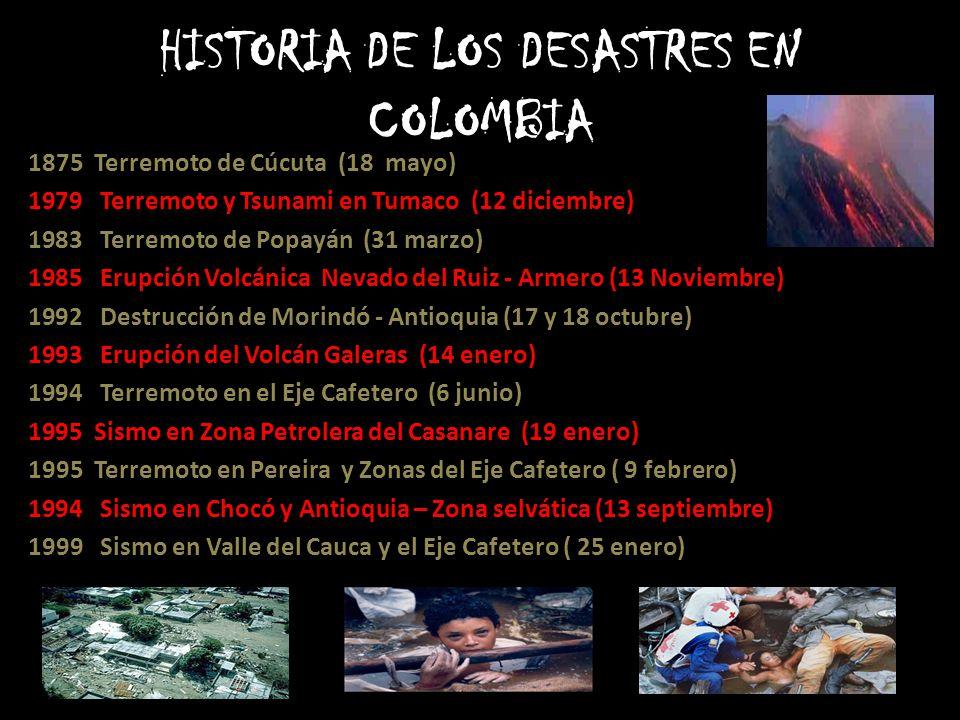 HISTORIA DE LOS DESASTRES EN COLOMBIA 1875 Terremoto de Cúcuta (18 mayo) 1979 Terremoto y Tsunami en Tumaco (12 diciembre) 1983 Terremoto de Popayán (31 marzo) 1985 Erupción Volcánica Nevado del Ruiz - Armero (13 Noviembre) 1992 Destrucción de Morindó - Antioquia (17 y 18 octubre) 1993 Erupción del Volcán Galeras (14 enero) 1994 Terremoto en el Eje Cafetero (6 junio) 1995 Sismo en Zona Petrolera del Casanare (19 enero) 1995 Terremoto en Pereira y Zonas del Eje Cafetero ( 9 febrero) 1994 Sismo en Chocó y Antioquia – Zona selvática (13 septiembre) 1999 Sismo en Valle del Cauca y el Eje Cafetero ( 25 enero)