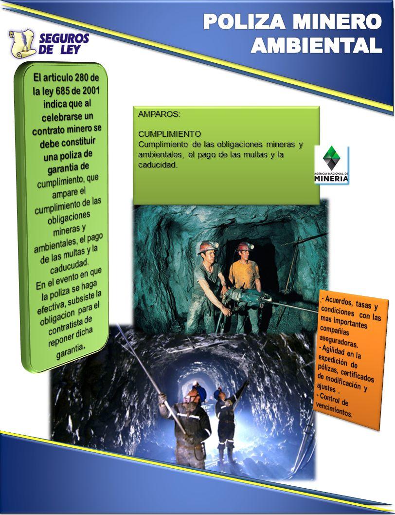 AMPAROS:CUMPLIMIENTO Cumplimiento de las obligaciones mineras y ambientales, el pago de las multas y la caducidad.