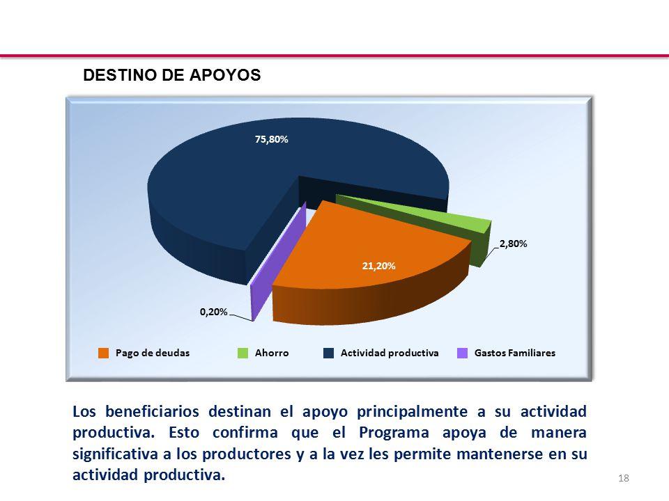 18 Los beneficiarios destinan el apoyo principalmente a su actividad productiva.