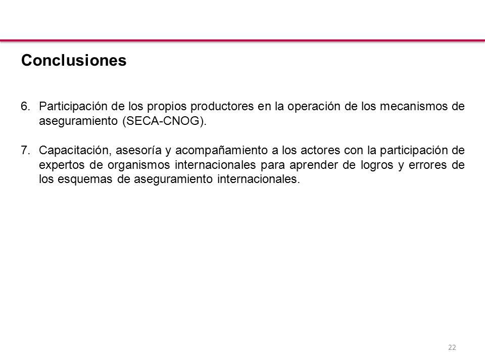 22 Conclusiones 6.Participación de los propios productores en la operación de los mecanismos de aseguramiento (SECA-CNOG).