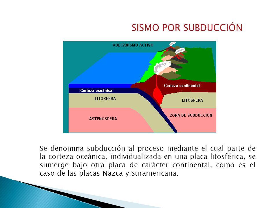 SISMO POR SUBDUCCIÓN Se denomina subducción al proceso mediante el cual parte de la corteza oceánica, individualizada en una placa litosférica, se sumerge bajo otra placa de carácter continental, como es el caso de las placas Nazca y Suramericana.