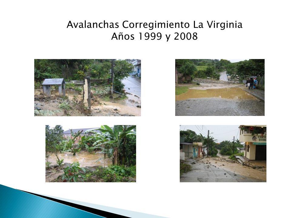 Avalanchas Corregimiento La Virginia Años 1999 y 2008