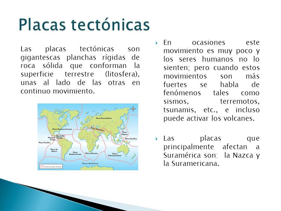 Placas tectónicas Las placas tectónicas son gigantescas planchas rígidas de roca sólida que conforman la superficie terrestre (litosfera), unas al lado de las otras en continuo movimiento.