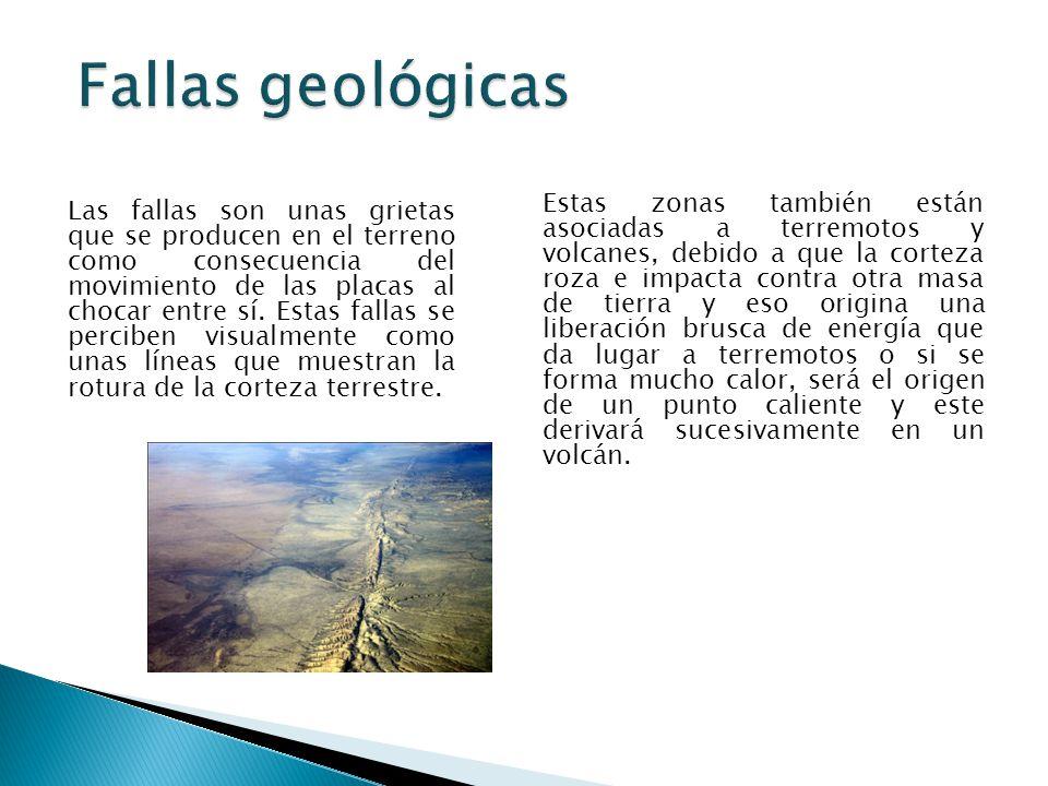 Fallas geológicas Las fallas son unas grietas que se producen en el terreno como consecuencia del movimiento de las placas al chocar entre sí.