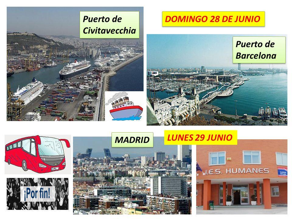 Puerto de Civitavecchia Puerto de Barcelona MADRID DOMINGO 28 DE JUNIO LUNES 29 JUNIO