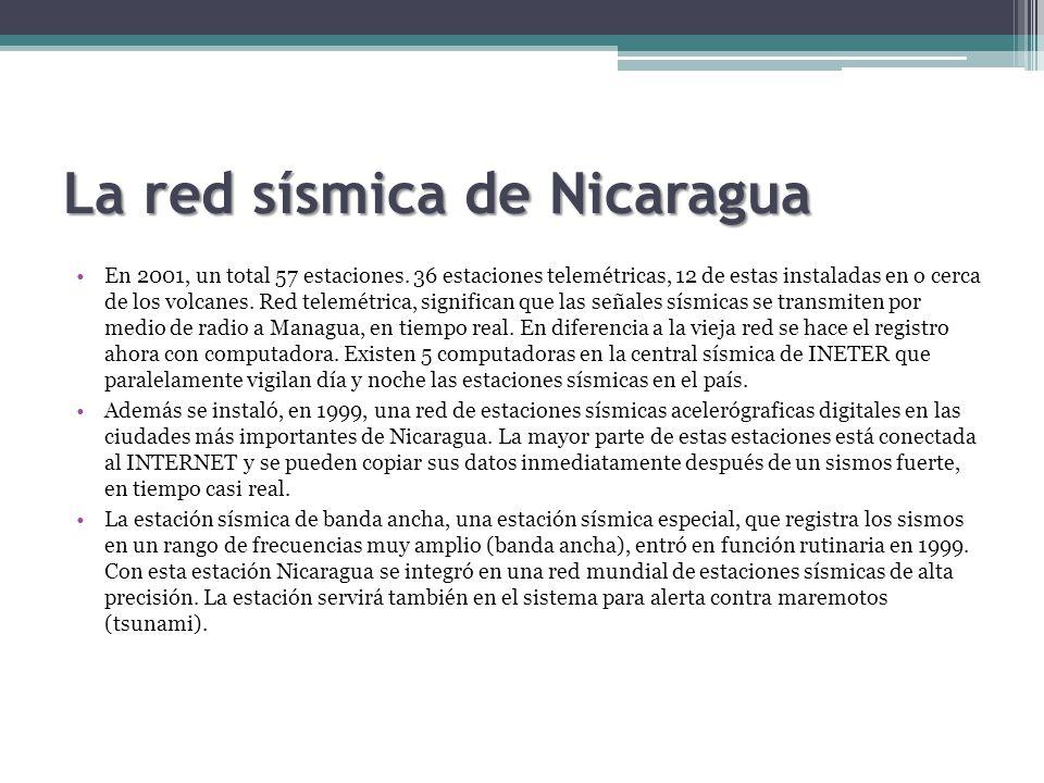 La red sísmica de Nicaragua En 2001, un total 57 estaciones.