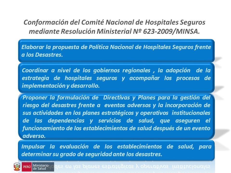 Conformación del Comité Nacional de Hospitales Seguros mediante Resolución Ministerial Nº 623-2009/MINSA.