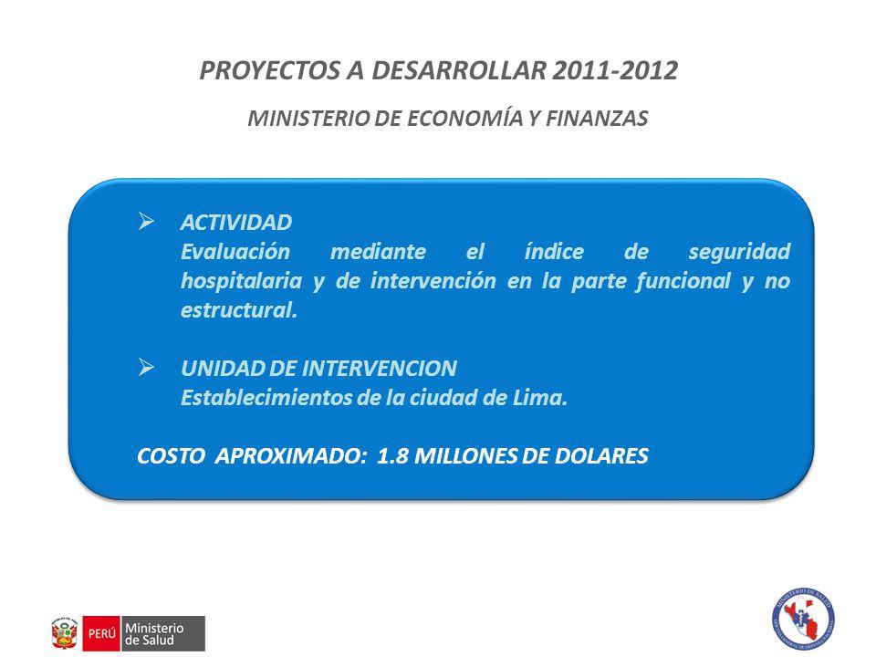 PROYECTOS A DESARROLLAR 2011-2012 MINISTERIO DE ECONOMÍA Y FINANZAS  ACTIVIDAD Evaluación mediante el índice de seguridad hospitalaria y de intervención en la parte funcional y no estructural.